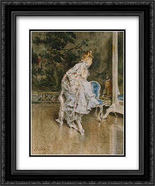 The Beauty Before The Mirror 20x24 Black or Gold Ornate Framed and Double Matted Art Print by Giovanni Boldini