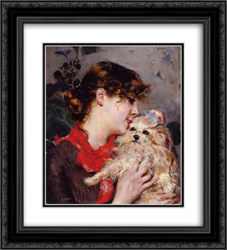 Madame Rejane 20x22 Black or Gold Ornate Framed and Double Matted Art Print by Giovanni Boldini