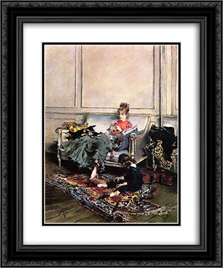 Peaceful Days 20x24 Black or Gold Ornate Framed and Double Matted Art Print by Giovanni Boldini