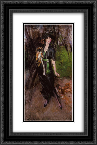 Portrait of a Lady, Lina Bilitis, with Two Pekinese 16x24 Black or Gold Ornate Framed and Double Matted Art Print by Giovanni Boldini