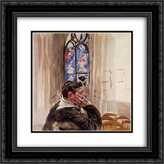 Portrait of a Man in Church 20x20 Black or Gold Ornate Framed and Double Matted Art Print by Giovanni Boldini