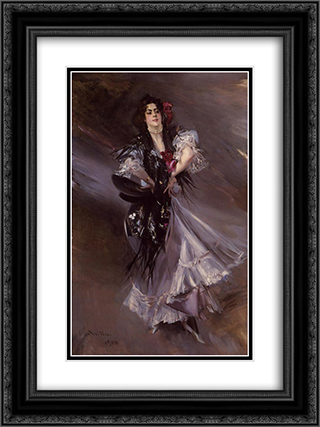 Portrait of Anita de la Ferie, 'The Spanish Dancer' 18x24 Black or Gold Ornate Framed and Double Matted Art Print by Giovanni Boldini
