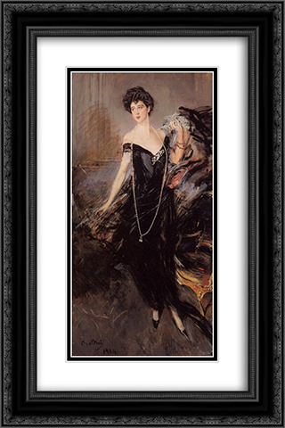 Portrait of Donna Franca Florio 16x24 Black or Gold Ornate Framed and Double Matted Art Print by Giovanni Boldini