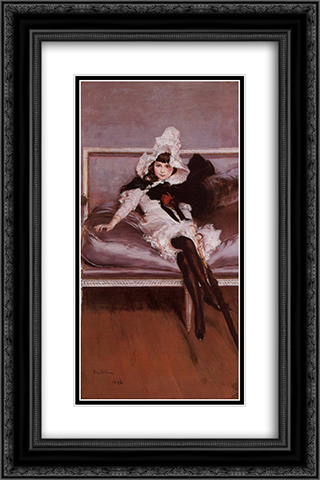 Portrait of Giovinetta Errazuriz 16x24 Black or Gold Ornate Framed and Double Matted Art Print by Giovanni Boldini