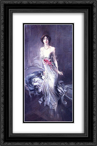 Portrait of Madame E. L. Doyen 16x24 Black or Gold Ornate Framed and Double Matted Art Print by Giovanni Boldini