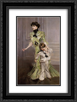 Portrait of Madame Georges Hugo (nee Pauleen Menard'Dozian) and Her Son, Jean 18x24 Black or Gold Ornate Framed and Double Matted Art Print by Giovanni Boldini