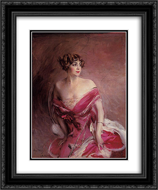 Portrait of Mlle de Gillespie, 'La Dame de Biarritz' 20x24 Black or Gold Ornate Framed and Double Matted Art Print by Giovanni Boldini
