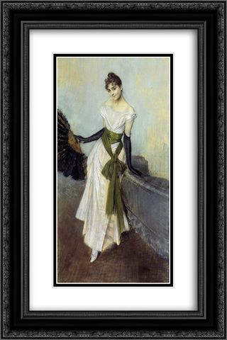 Portrait of Signorina Concha de Ossa 16x24 Black or Gold Ornate Framed and Double Matted Art Print by Giovanni Boldini