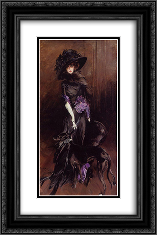 Portrait of the Marchesa Luisa Casati, with a Greyhound 16x24 Black or Gold Ornate Framed and Double Matted Art Print by Giovanni Boldini