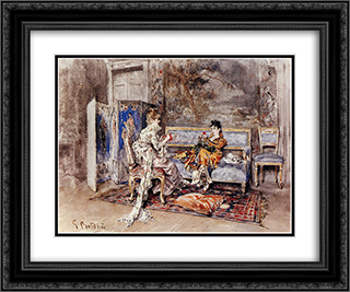 The Conversation 24x20 Black or Gold Ornate Framed and Double Matted Art Print by Giovanni Boldini
