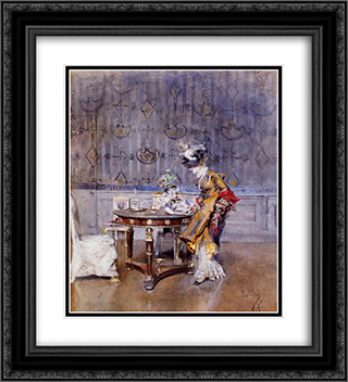 The Letter 20x22 Black or Gold Ornate Framed and Double Matted Art Print by Giovanni Boldini