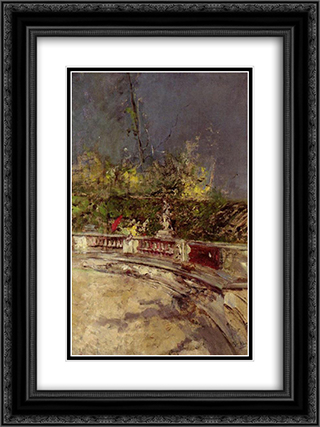 The Red Umbrella 18x24 Black or Gold Ornate Framed and Double Matted Art Print by Giovanni Boldini