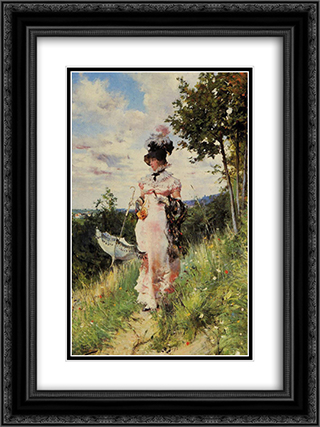 The Summer Stroll 18x24 Black or Gold Ornate Framed and Double Matted Art Print by Giovanni Boldini