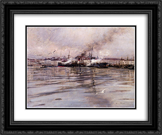 View of Venice 24x20 Black or Gold Ornate Framed and Double Matted Art Print by Giovanni Boldini