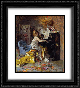 Woman at a Piano 20x22 Black or Gold Ornate Framed and Double Matted Art Print by Giovanni Boldini