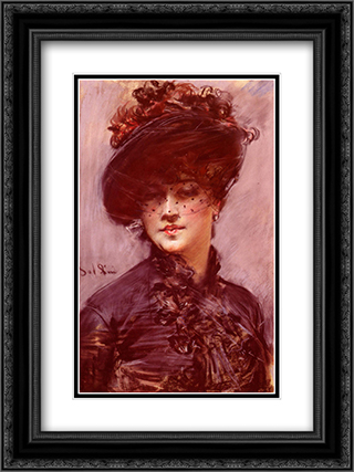 La Femme Au Chapeau Noir 18x24 Black or Gold Ornate Framed and Double Matted Art Print by Giovanni Boldini