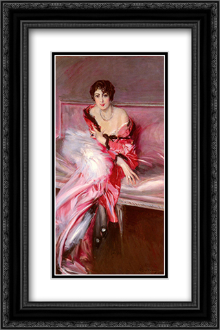 Portrait Of Madame Juillard In Red 16x24 Black or Gold Ornate Framed and Double Matted Art Print by Giovanni Boldini