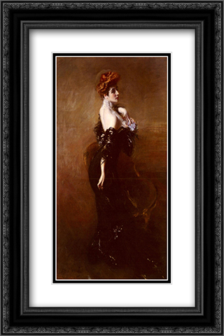 Portrait Of Madame Pages In Evening Dress 16x24 Black or Gold Ornate Framed and Double Matted Art Print by Giovanni Boldini