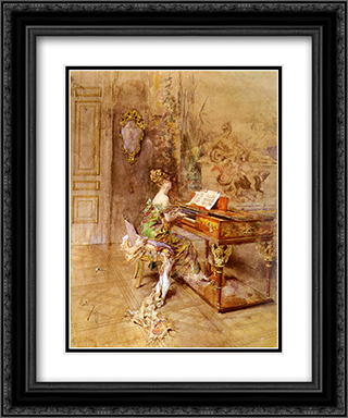 La Pianista 20x24 Black or Gold Ornate Framed and Double Matted Art Print by Giovanni Boldini