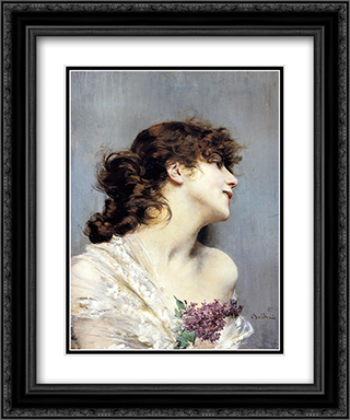 Profile Of A Young Woman 20x24 Black or Gold Ornate Framed and Double Matted Art Print by Giovanni Boldini