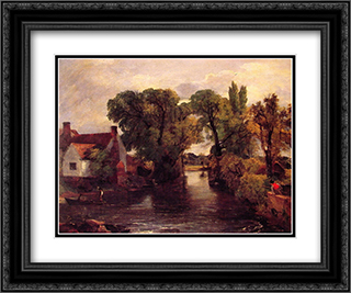 Mill Stream 24x20 Black or Gold Ornate Framed and Double Matted Art Print by John Constable