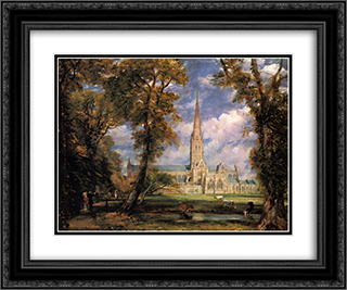 Salisbury Cathedral from the Bishops' Grounds 24x20 Black or Gold Ornate Framed and Double Matted Art Print by John Constable