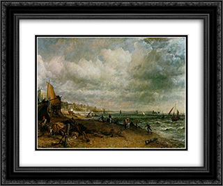 Chain Pier, Brighton 24x20 Black or Gold Ornate Framed and Double Matted Art Print by John Constable
