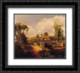 Landscape with Boys Fishing 22x20 Black or Gold Ornate Framed and Double Matted Art Print by John Constable