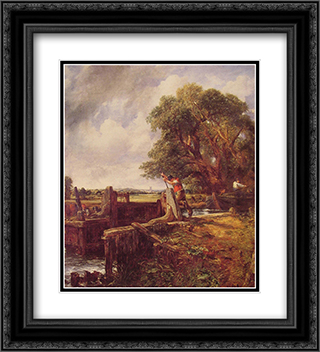 A Boat Passing a Lock 20x22 Black or Gold Ornate Framed and Double Matted Art Print by John Constable