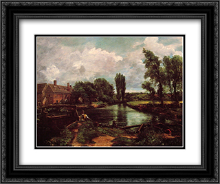 A Water'Mill 24x20 Black or Gold Ornate Framed and Double Matted Art Print by John Constable