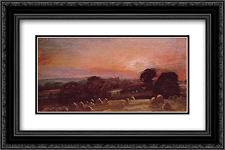 A Hayfield at East Bergholt 24x16 Black or Gold Ornate Framed and Double Matted Art Print by John Constable