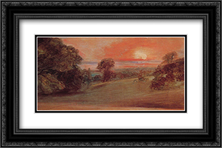 Evening Landscape at East Bergholt 24x16 Black or Gold Ornate Framed and Double Matted Art Print by John Constable