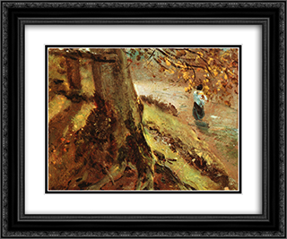 Tree Trunks 24x20 Black or Gold Ornate Framed and Double Matted Art Print by John Constable
