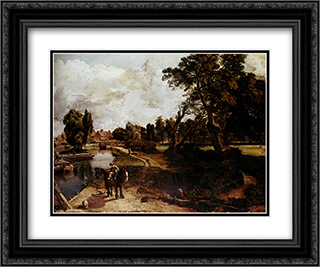 Flatford Mill 24x20 Black or Gold Ornate Framed and Double Matted Art Print by John Constable