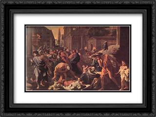 The Plague of Ashdod ' detail 24x18 Black or Gold Ornate Framed and Double Matted Art Print by Nicolas Poussin