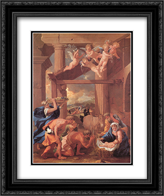 The Adoration of the Shepherds 20x24 Black or Gold Ornate Framed and Double Matted Art Print by Nicolas Poussin