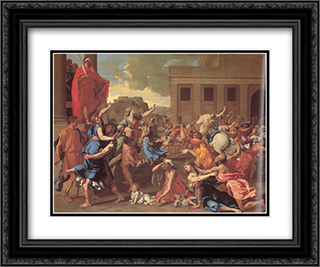 The Rape of the Sabine Women 24x20 Black or Gold Ornate Framed and Double Matted Art Print by Nicolas Poussin