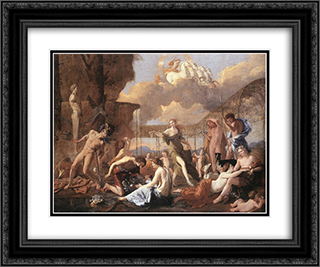 The Empire of Flora 24x20 Black or Gold Ornate Framed and Double Matted Art Print by Nicolas Poussin