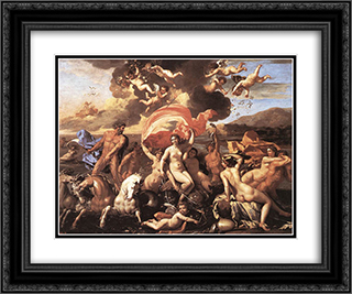 The Triumph of Neptune 24x20 Black or Gold Ornate Framed and Double Matted Art Print by Nicolas Poussin