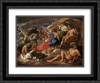 Helios and Phaeton with Saturn and the Four Seasons 24x20 Black or Gold Ornate Framed and Double Matted Art Print by Nicolas Poussin