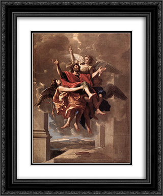 The Ecstasy of St Paul 20x24 Black or Gold Ornate Framed and Double Matted Art Print by Nicolas Poussin