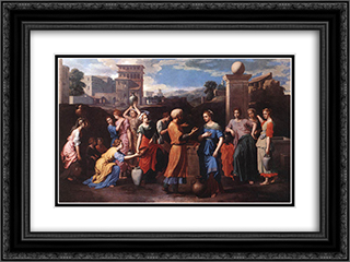 Rebecca at the Well 24x18 Black or Gold Ornate Framed and Double Matted Art Print by Nicolas Poussin