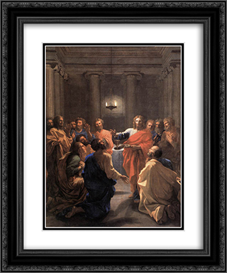 The Institution of the Eucharist 20x24 Black or Gold Ornate Framed and Double Matted Art Print by Nicolas Poussin