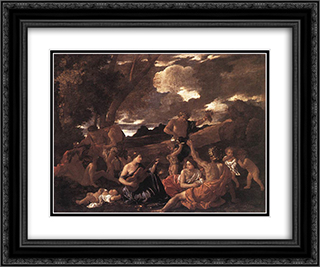 Bacchanal: the Andrians 24x20 Black or Gold Ornate Framed and Double Matted Art Print by Nicolas Poussin
