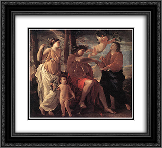 The Inspiration of the Poet 22x20 Black or Gold Ornate Framed and Double Matted Art Print by Nicolas Poussin