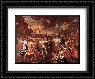 Adoration of the Golden Calf 24x20 Black or Gold Ornate Framed and Double Matted Art Print by Nicolas Poussin
