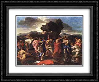 Sacrament of Baptism 24x20 Black or Gold Ornate Framed and Double Matted Art Print by Nicolas Poussin