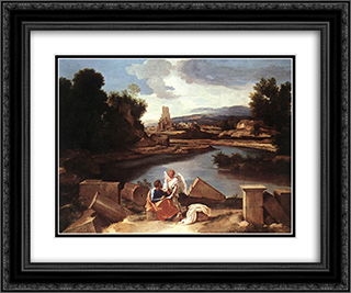 Landscape with St Matthew and the Angel 24x20 Black or Gold Ornate Framed and Double Matted Art Print by Nicolas Poussin