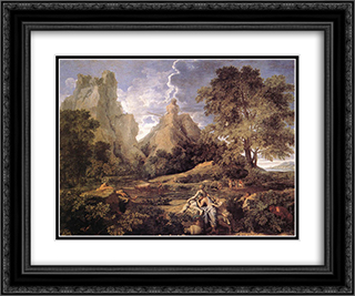 Landscape with Polyphemus 24x20 Black or Gold Ornate Framed and Double Matted Art Print by Nicolas Poussin