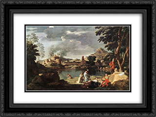 Landscape with Orpheus and Euridice 24x18 Black or Gold Ornate Framed and Double Matted Art Print by Nicolas Poussin
